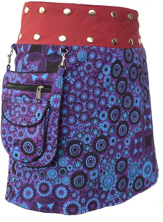 Little Kathmandu - Falda de diseño floral con bolsillo extraíble y ...