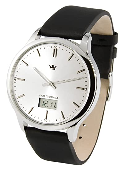 MARQUIS 964.4004 - Elegante reloj de pulsera controlado por radio para hombre (mecanismo Junghans), con correa de cuero negro y caja de acero inoxidable: ...