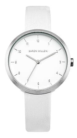 Karen Millen KM135W Ladies White Leather Strap Watch