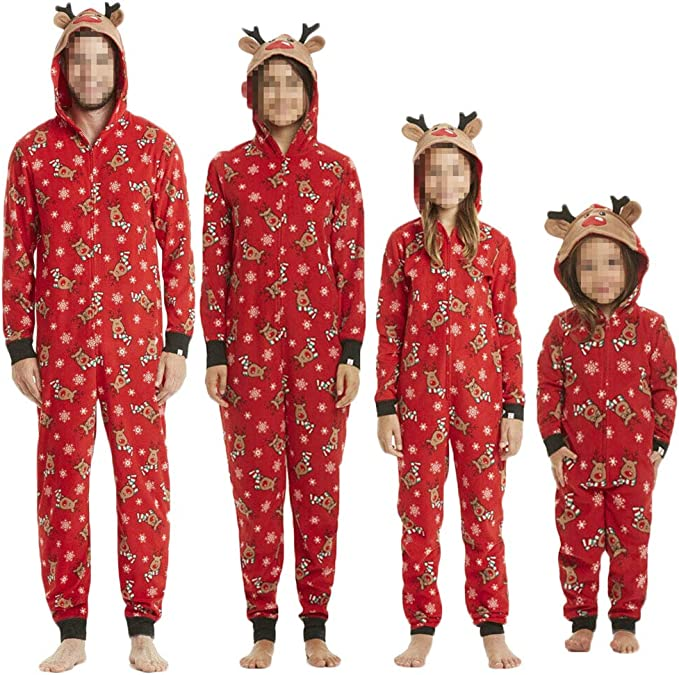 chenJBO Christmas Family Matching Pajama Set Long Sleeve Sleepwear Snowman Printed Tops and Red Stripped Pants Nightwear