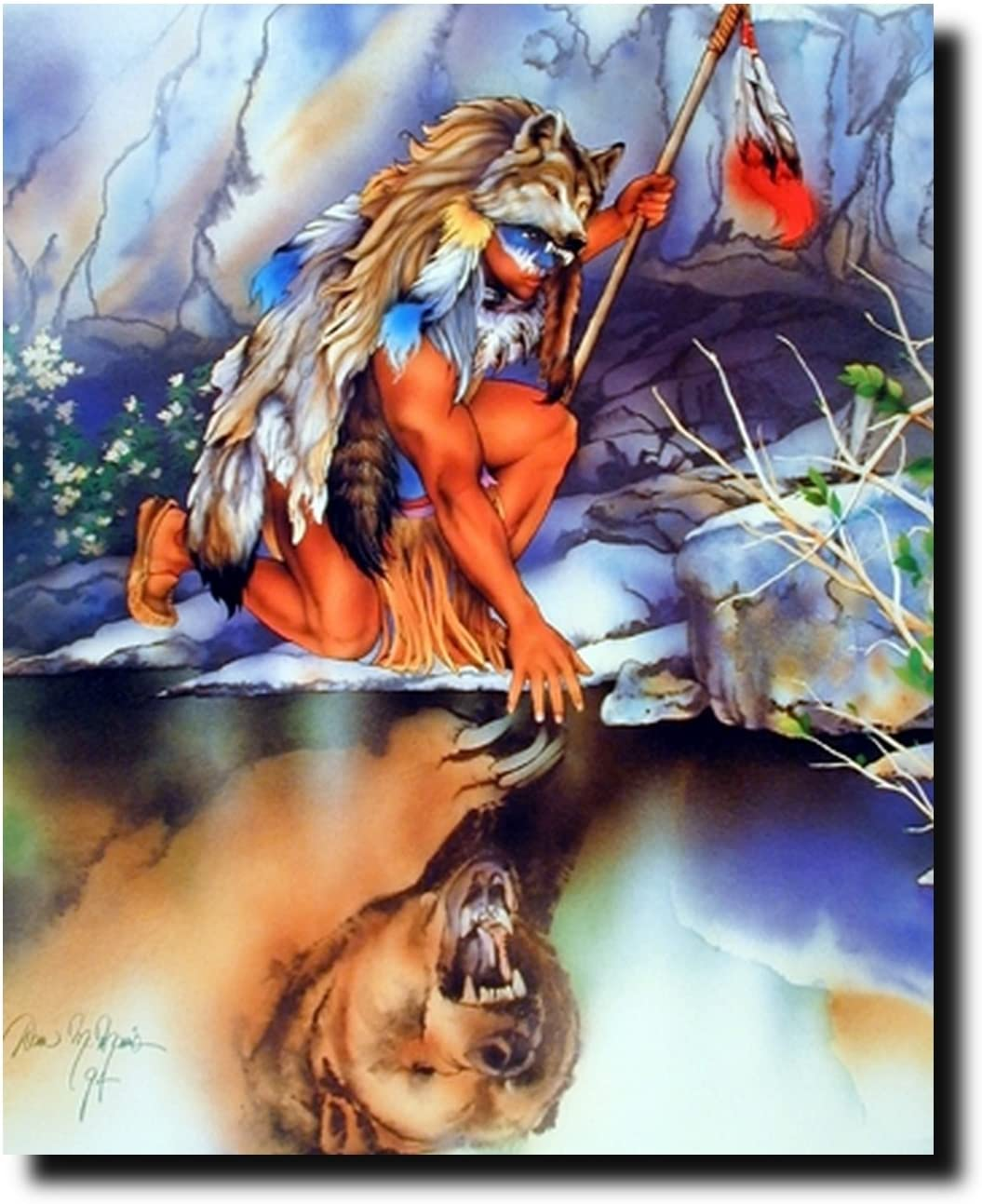 Reflection of Indian Warrior Native American Wall Decor Art Print Poster (16x20)