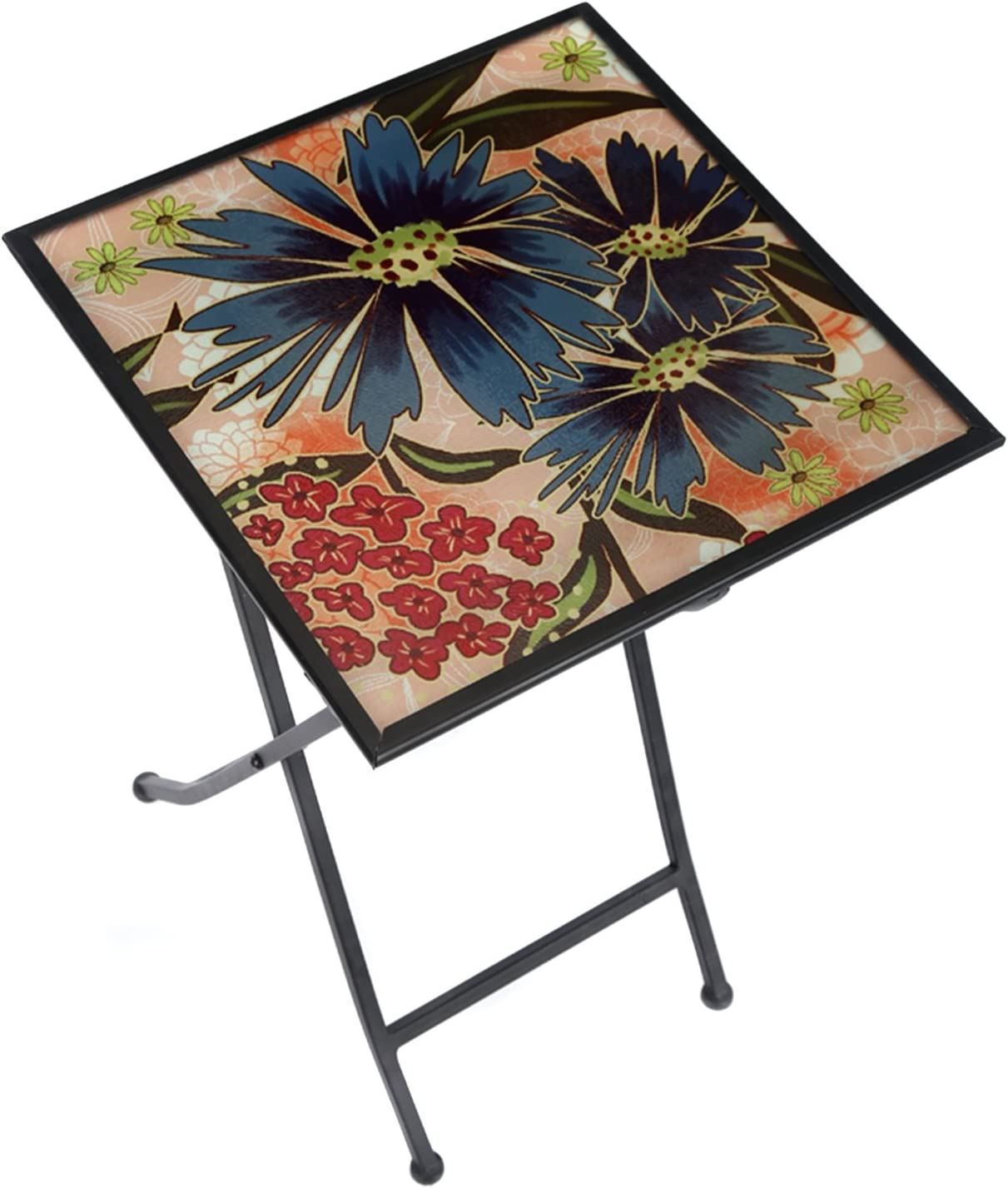CEDAR HOME Side Table Outdoor Garden Patio Metal Accent Desk with Square Hand Painted Glass, Blue