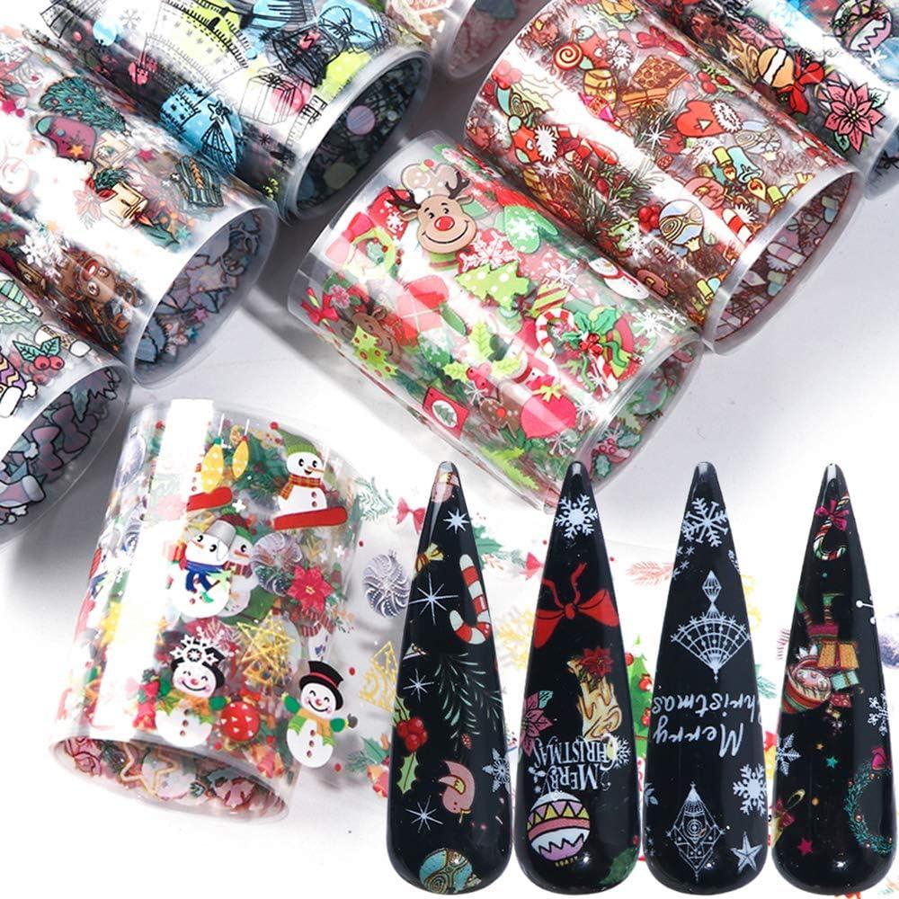 BFY Christmas Nail Foil Transfers Stickers Nail Art Supplies 10 Pcs Santa Claus Snow Bell Christmas Tree Nail Decals Tips Wraps Nail Art Accessories for Women Christmas Decor DIY Nail Art