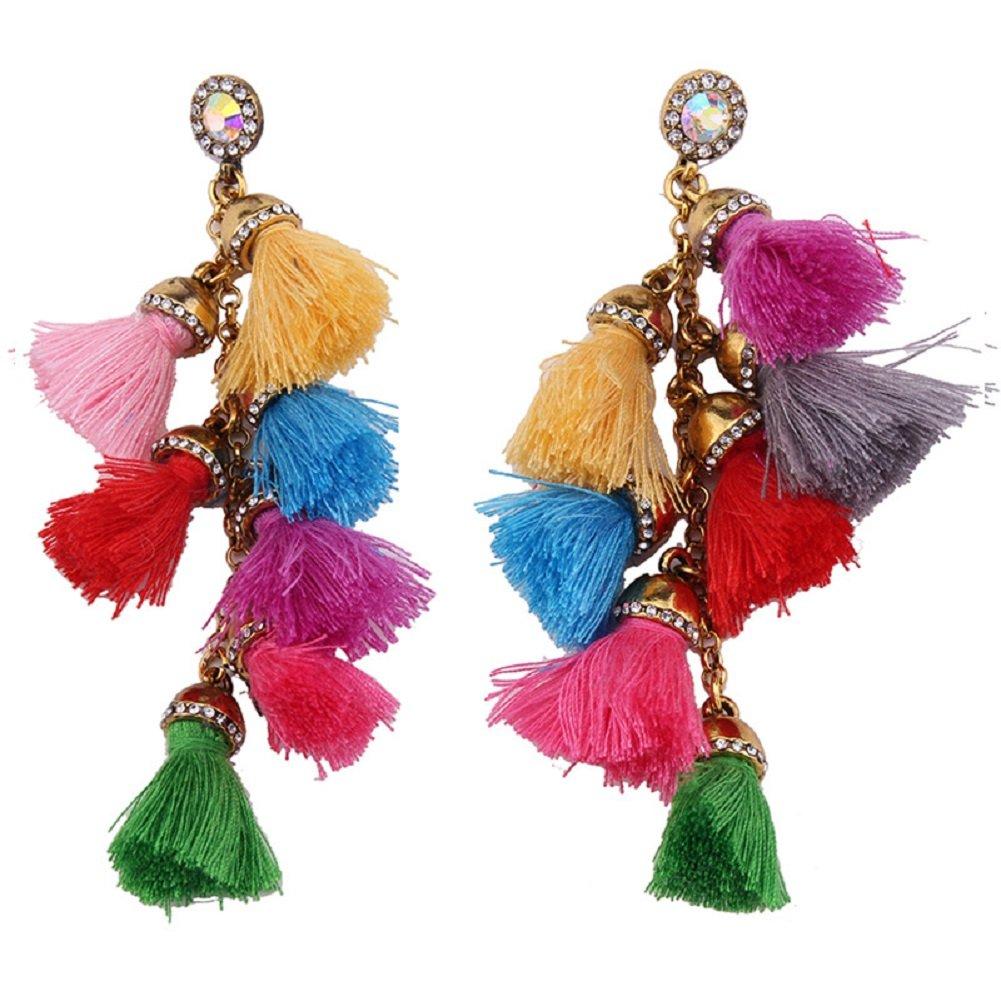 Kuulee WomenBohemia Ethnic StyleVintage LongEardropCrystal Tassel Earrings (Multicolor)