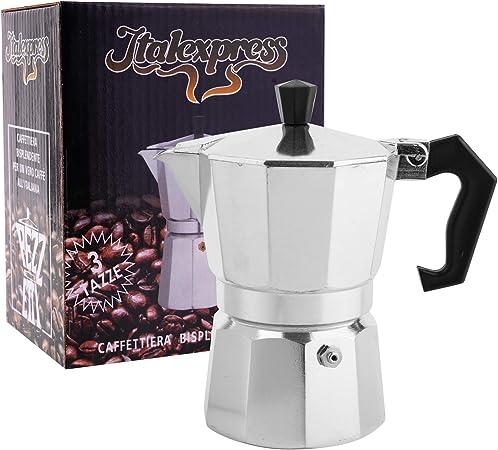 soprety Cafetera Espresso de Aluminio, 3 Tazas, para Moca ...