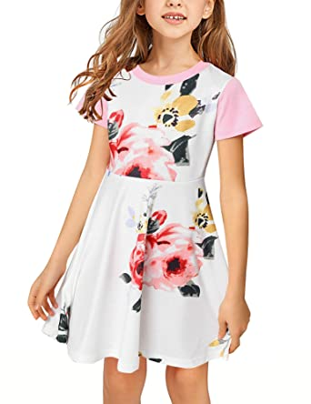 70f9fb3ee94fef LookbookStore Girl's Summer Floral Print Short Sleeves Skater Dresses 4-13  Years Light Pink Small