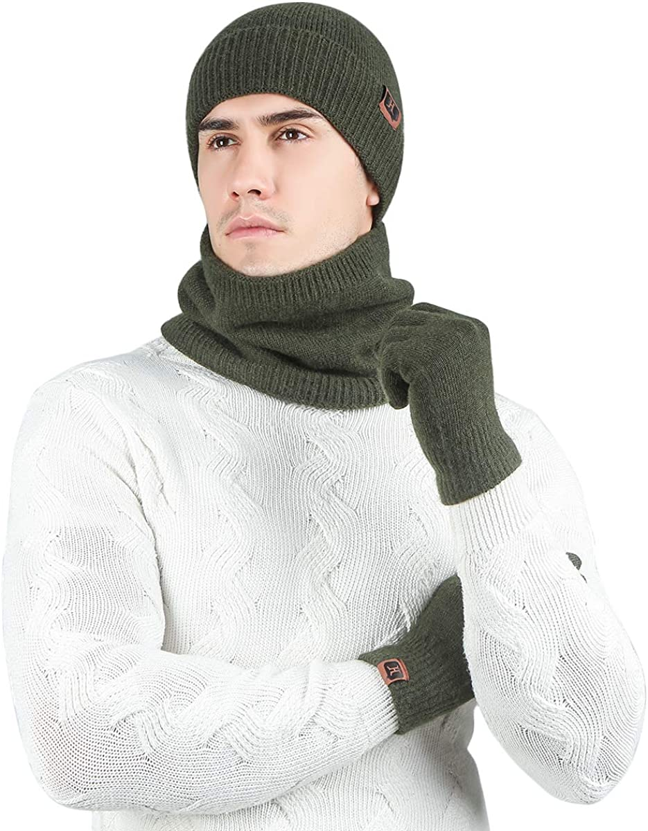 Calentador de Cuello Gorro de Esqu/í Unisex de Punto El/ástico TAGVO Conjunto de Gorro Bufanda Guantes para Invierno 3 in 1 Guantes T/áctiles Fleece Suave Grueso Interior