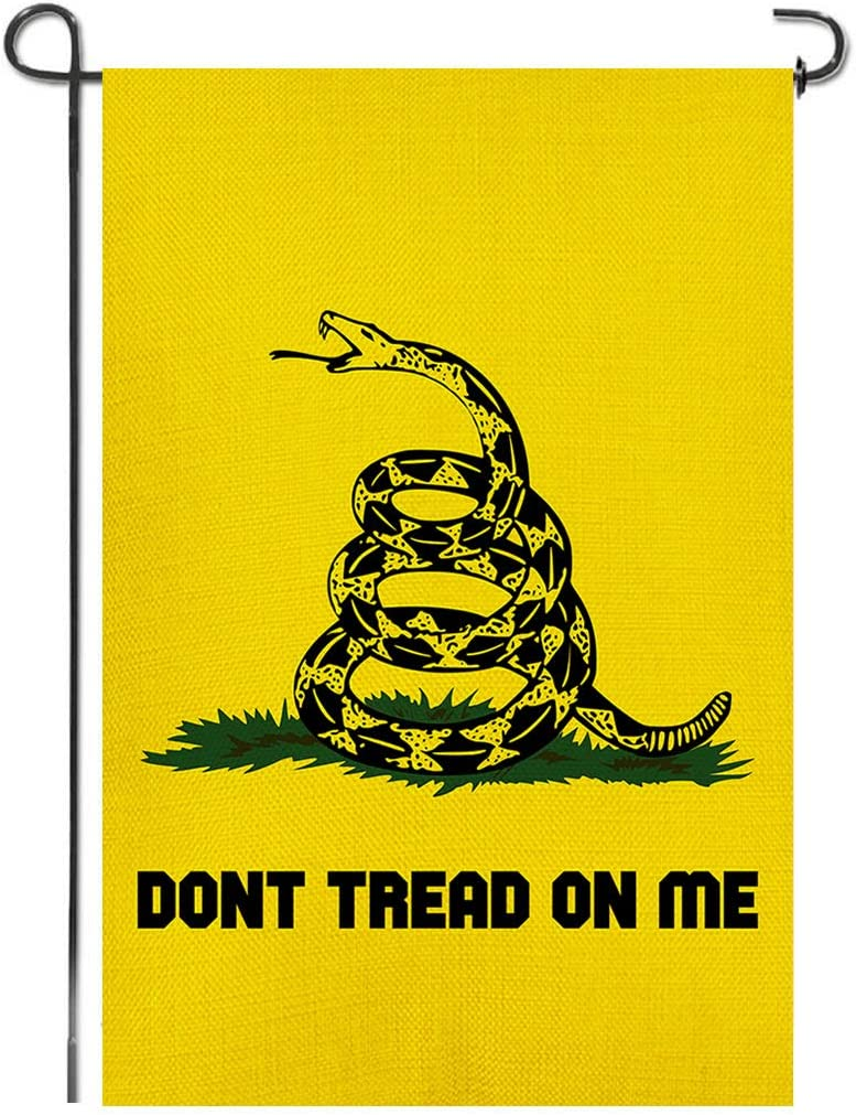 Shmbada Gadsden Don't Tread on Me Burlap Garden Flag, Double Sided Premium Material, Seasonal Outdoor Banner Decorative Small Flags for Home House Yard Lawn Patio, 12.5 x 18.5 Inch