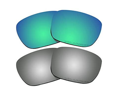 57c0630216 Image Unavailable. Image not available for. Color  2 Pairs Polarized Lenses  Replacement Green   Black Mirror for Oakley Holbrook Sunglasses