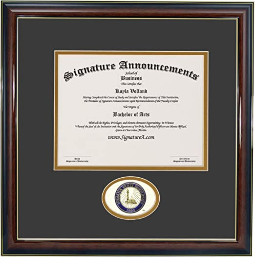 Matte Mahogany Signature Announcements Indiana State University Doctorate Sculpted Foil Seal 20 x 20 Name /& Tassel Graduation Diploma Frame