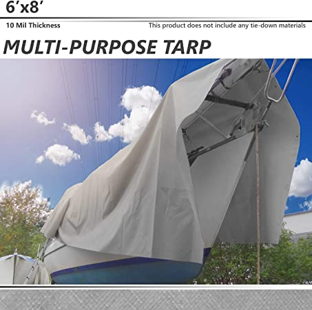 Great for Tarpaulin Canopy Tent 8X10 Boat Waterproof RV or Pool Cover!!! Tarp Cover Silver//Black Extremely Heavy Duty 20 Mil Thick Material