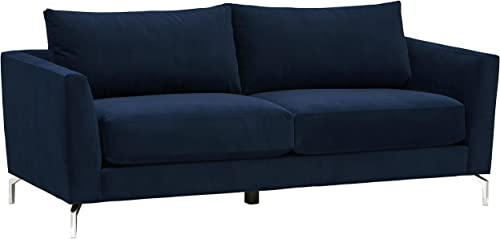 Rivet Emerly Mid-Century Modern Velvet Metal Leg Sofa Couch, 83.5 W, Navy