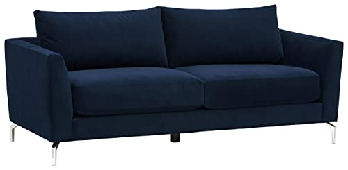 Rivet Frederick Mid-Century Modern Tufted Velvet Sectional Sofa Couch, 77.5 W, Navy Blue