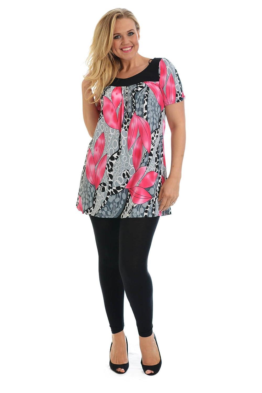 Nouvelle - Talla grande blusa de mujer con estampado de hojas, tallas 54-56, color rosa bebé: Amazon.es: Ropa y accesorios