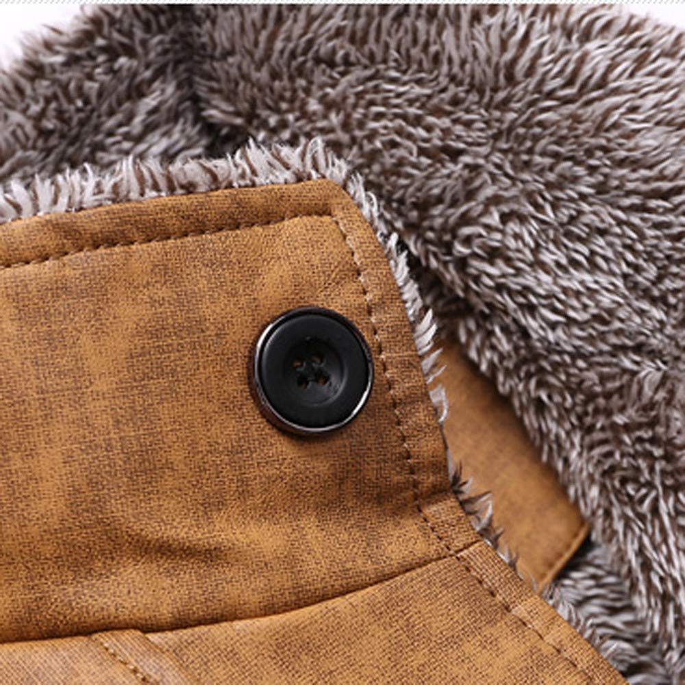 Amazon.com: Gift Ideas! Teresamoon Fashion Mens Autumn Winter Casual Button Thermal Leather Warm Jackets Coats Top: Home & Kitchen