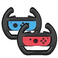 Myriann Nintendo Switch Joy Con Racing Wheel, Set of 2 Joy-con Steering Wheel Handle for Nintendo Switch Mario Kart 8(Black)