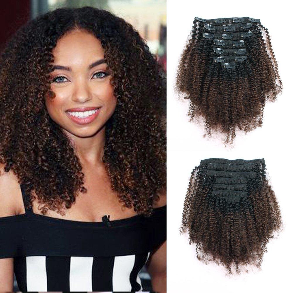 Lovrio Afro Kinkys Curly Brazilian 3C 4A Clip in Hair Extensions Ombre Natural Black Fading into Light Chocolate Brown TN/4 7 Pcs 120g 18'' by Lovrio