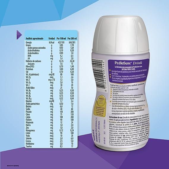 PediaSure Drink sabor vainilla. Pack 4x200ml. Alimento completo y equilibrado para niños a partir de 1 año de edad: Amazon.es: Salud y cuidado personal