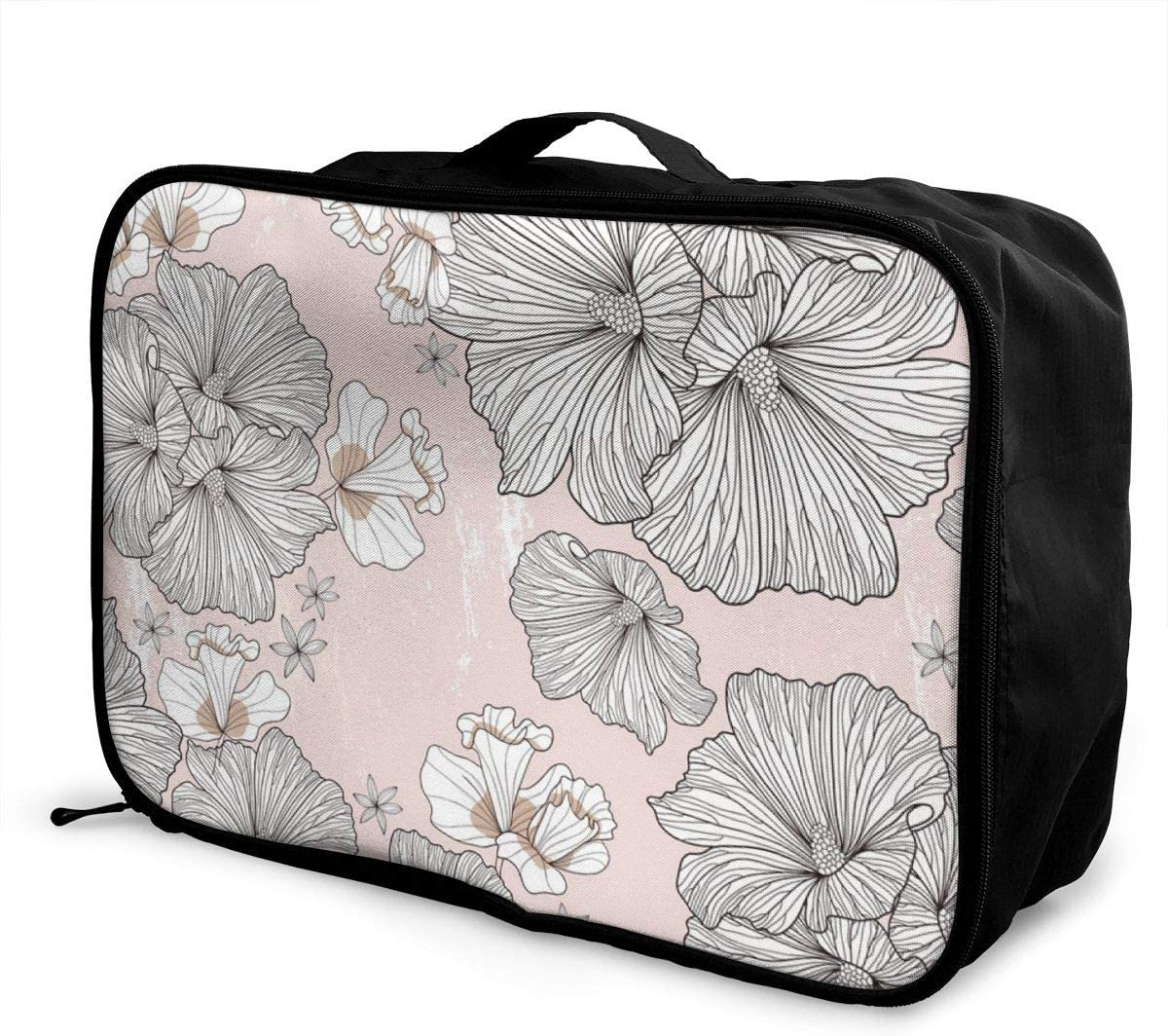 Yunshm Flowers Seamless Vector Pattern Customized Trolley Handbag Waterproof Unisex Large Capacity For Business Travel Storage