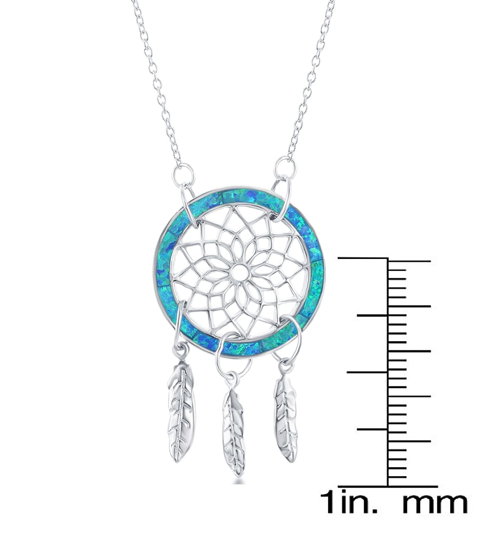 Beaux Bijoux Sterling Silver Created Blue Opal Dreamcatcher 16 2 Necklace