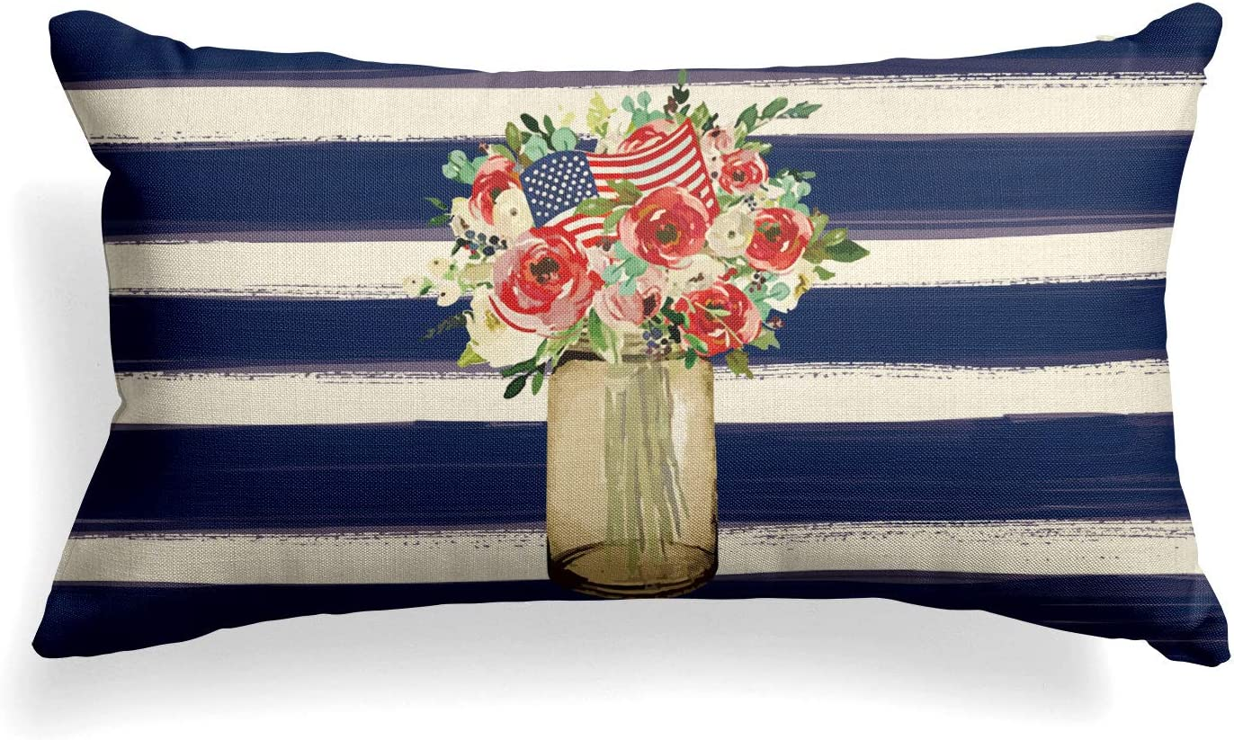 AVOIN Watercolor Stripes Flower Vase American Flag Throw Pillow Cover, 12 x 20 Inch Patriotic 4th of July Memorial Day Independence Day Cushion Case Decoration for Sofa Couch