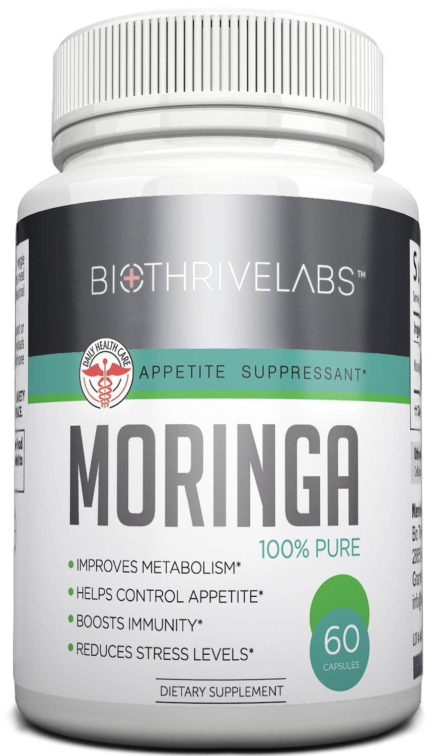 Best Moringa Oleifera Extract Supplement! Natural Super Food – Boosts Weight Loss and the Immune System – Potent Appetite Suppressant – 800 mg Vegetarian Capsules