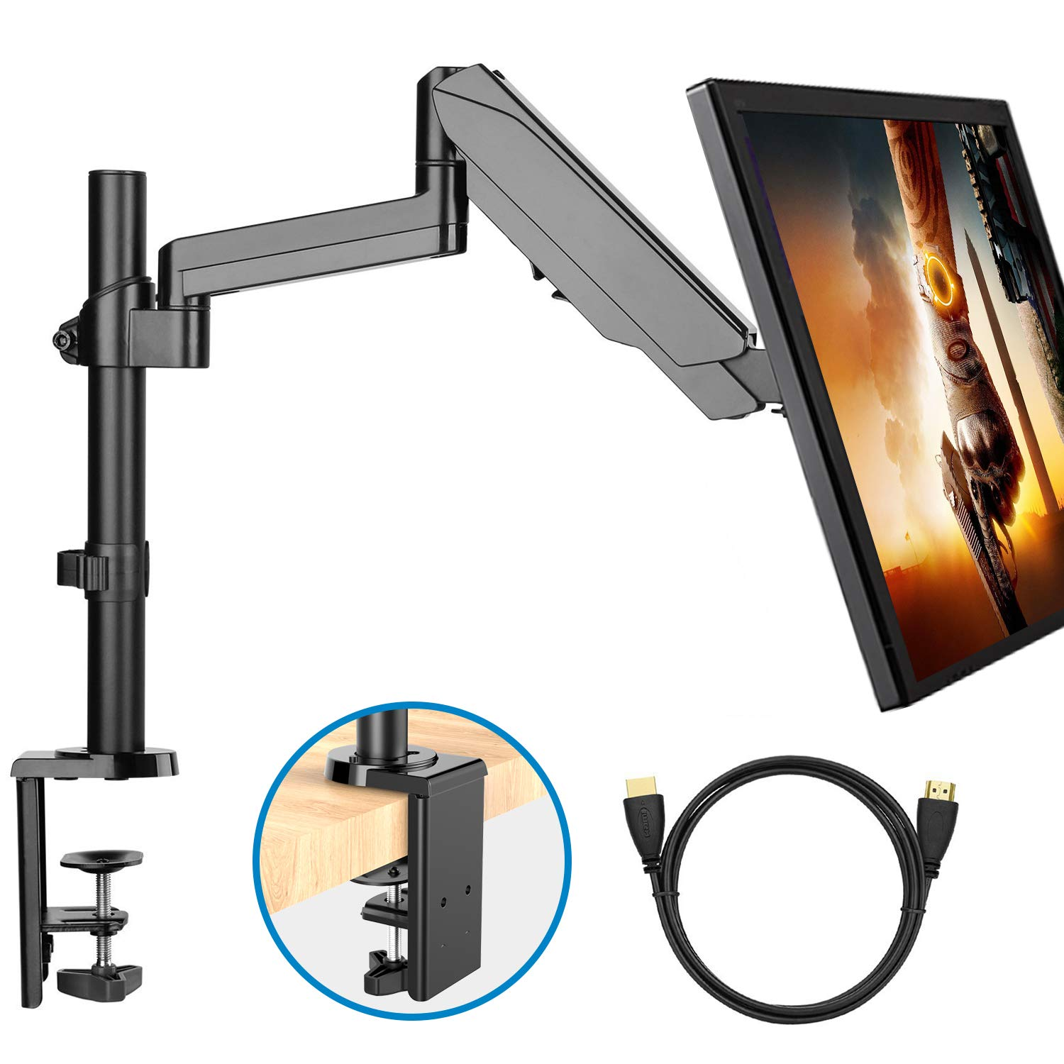 Monitor Mount Stand - Adjustable Single Arm Desk Vesa Mount with Clamp, Grommet Base, HDMI Cable for LCD LED Screens Up to 32 Inch, Gas Spring Articulating Full Motion Arm Holds Up to 17.6Lbs by HUANUO