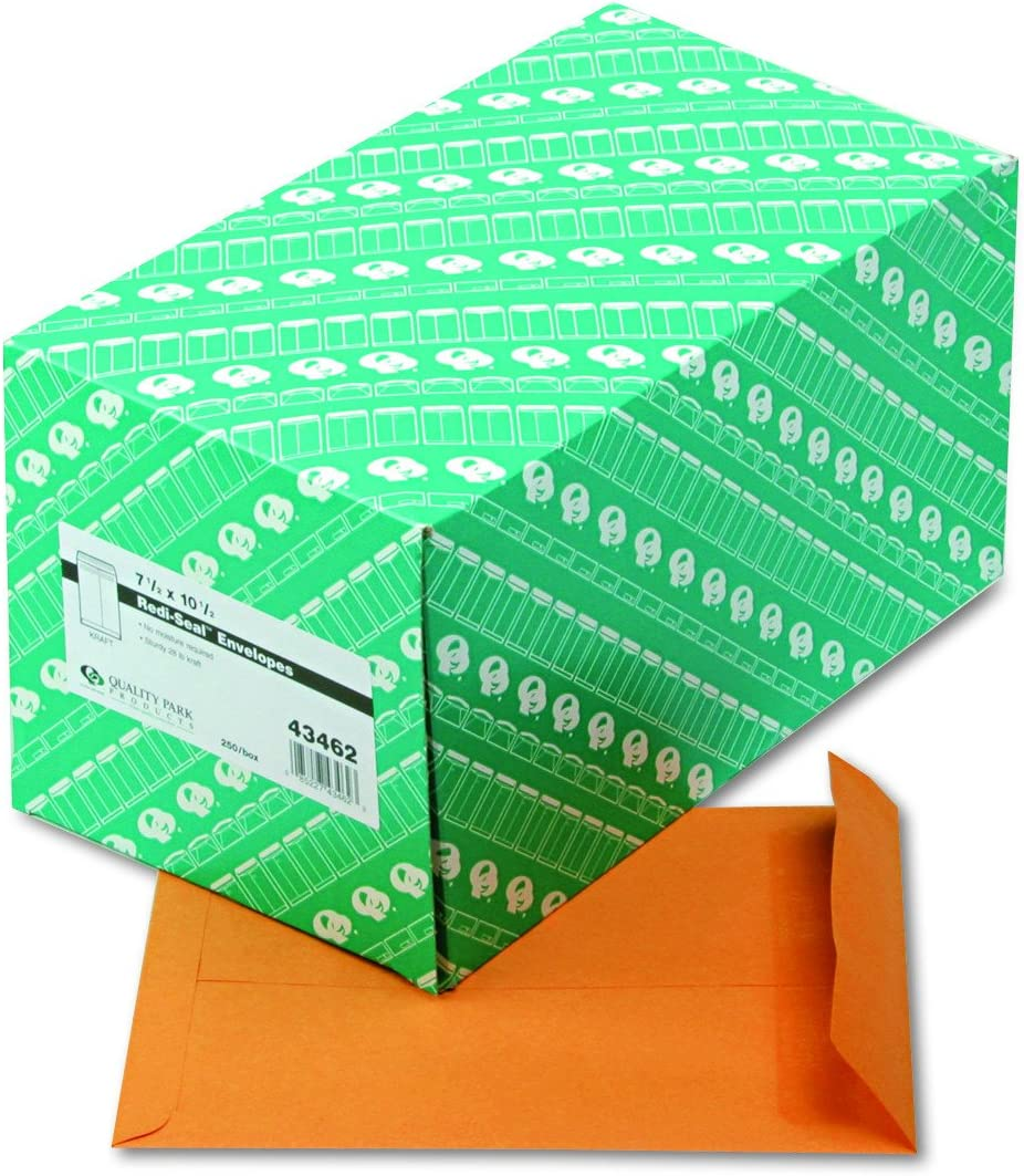 Brown Kraft Quality Park Catalog Envelopes Redi-Seal 43462 7.5 x 10.5 250 Count,