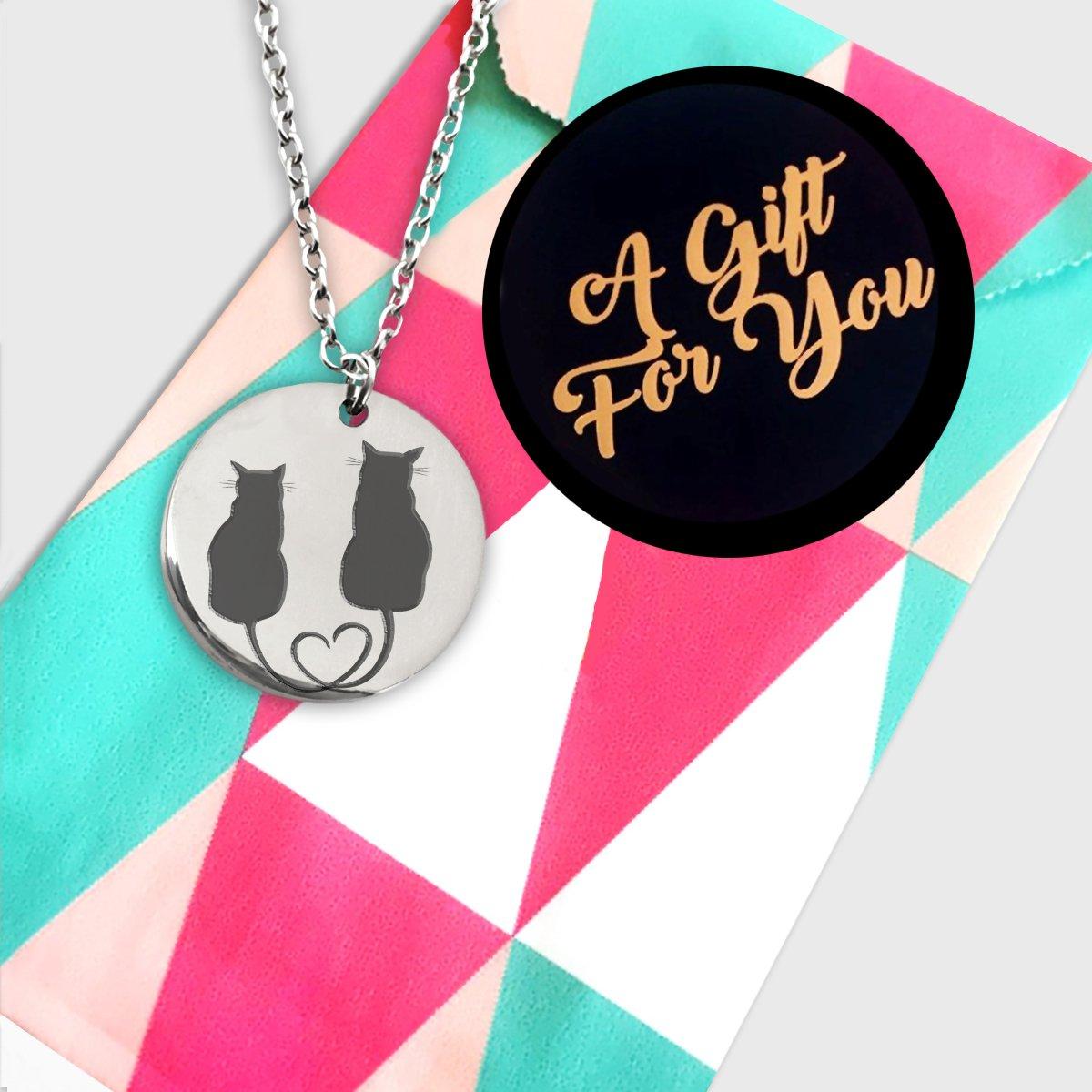 Dije de gato Cat Couple Necklace Laser Engraved Pendant