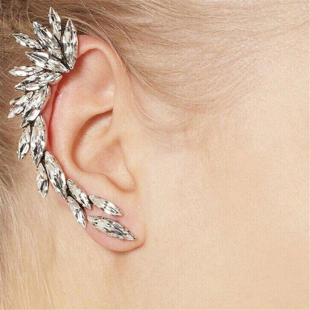 KeyZone 1x Women's Gorgeous Crescent Shaped Crystal Rhinestone Ear Cuff Clip