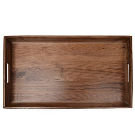 Outstanding 24X13 Xl Wooden Tray Ottoman Tray With Handle Fsc Natural Handmade Black Walnut Serving Tray Vintage Decorative Platters For Kitchen Evergreenethics Interior Chair Design Evergreenethicsorg