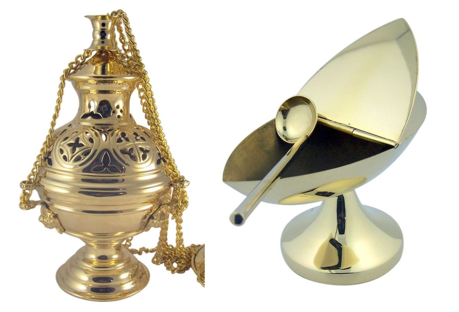 Cathedral Hanging Church Censor and Boat Gothic Brass Incense Charcoal Burner by Religious Gifts