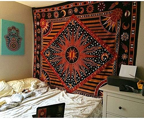 Hippie Mandala Sun and Moon Maditation Large King Tapestry Wall Hanging – Indian Golden Burning Sun Stars Psychedelic Popular Mystic Beach Blanket 90 x 108 Inch