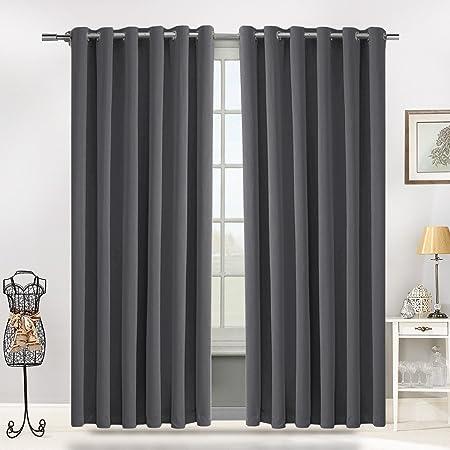 Blackout Ring Top Curtains By Moonlight Thermal Interwoven Pair Eyelet Dark Grey 228 X