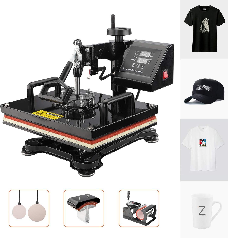 Plate Press Mug Hat//Cap Furgle Heat Press Machine 12x15 inch 5 in 1 T-Shirt Digital Printing Transfer Sublimation Machine 1050W with Clothes