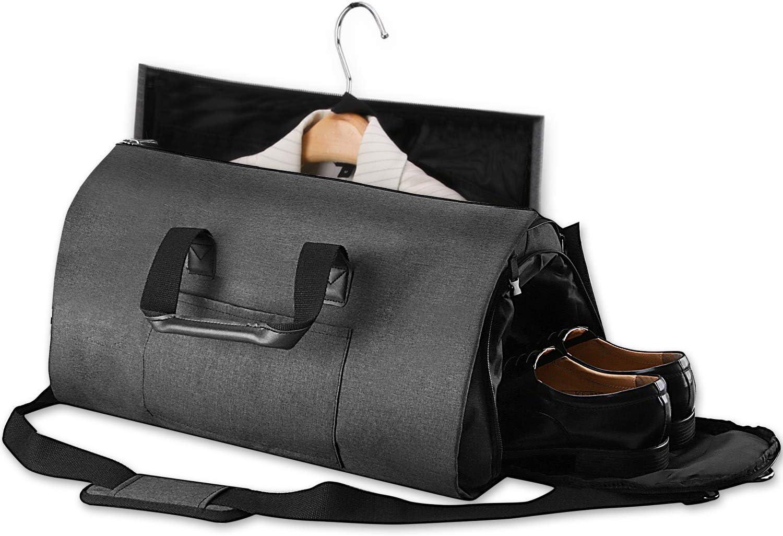 Bolsa de Deporte con Compartimentos para Zapatos y Correa Ajustable Bolsas de Viaje Portatrajes de Viaje Port/átil AGPTEK Bolsa de Viaje Plegable Ideal para Negocios Hombres Mujeres Gris