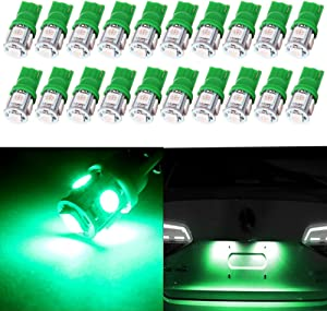 cciyu License Plate Lights,cciyu Green T10 W5W 194 LED Light Bulb 5050 SMD Side Wedge Light Lamps,20Pack