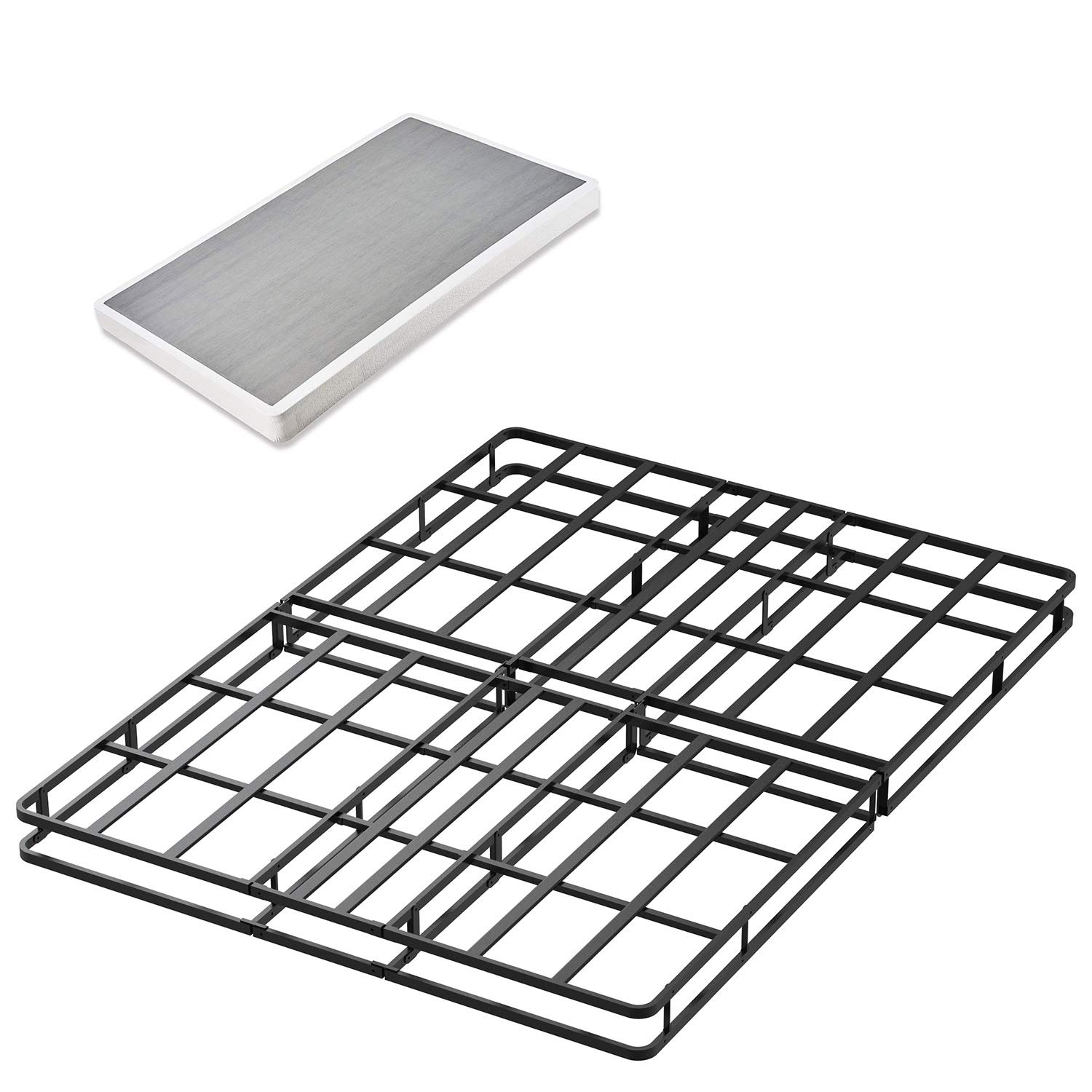 45MinST 4 Inch Low Profile 15 Minutes Easy Assembly Smart Box Spring with Bed Cover/Mattress Foundation / 5000 lbs Heavy Duty Strong Steel Structure,Queen/King(King)