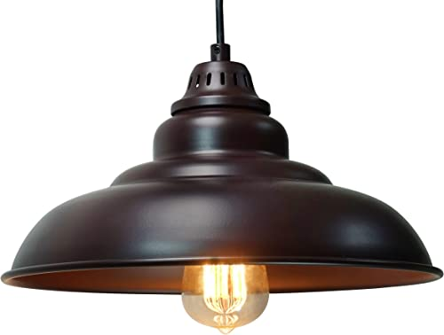 Barn Pendant Lights, FINXIN 1-Light Hanging Light for Kitchen Dining Table Oil-Rubbed Bronze Black 12 Ceiling Dome Pendant Lighting E26 Base Bronze