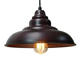 "Barn Pendant Lights, FINXIN 1-Light Hanging Light for Kitchen Dining Table Oil-Rubbed Bronze 12"" Ceiling Dome Pendant Lighting E26 Base (Bronze)"