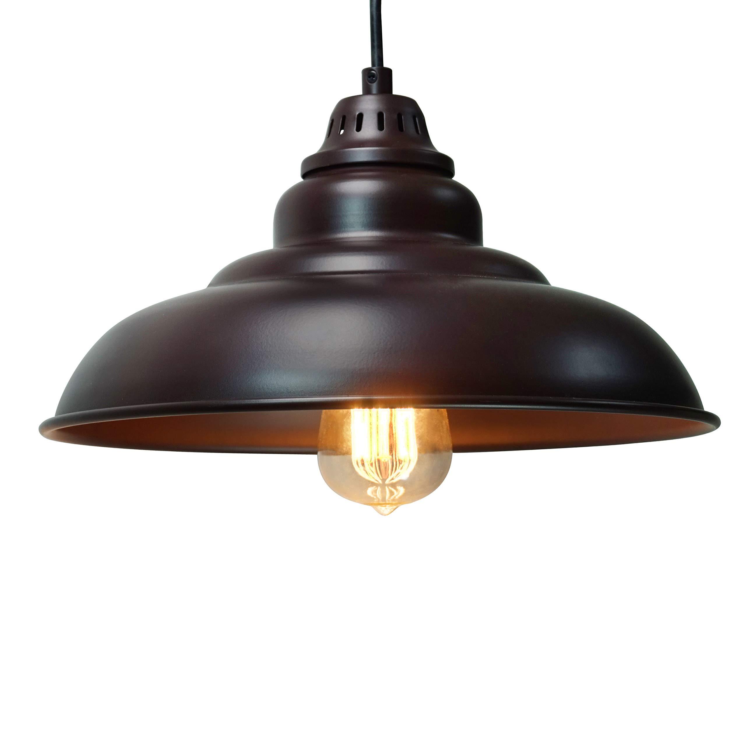 Barn Pendant Lights, FINXIN 1-Light Hanging Light for Kitchen Dining Table FXPL01 Oil-Rubbed Bronze 12'' Ceiling Dome Pendant Lighting E26 Base (Bronze)