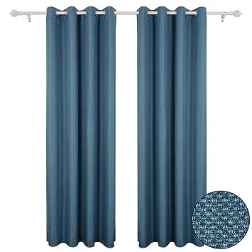 amazon.de: deconovo gardinen leinenoptik Ösen vorhänge blickdicht ... - Vorhange Wohnzimmer Blau