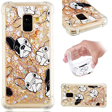 62e3bcc4ff35c3 Image Unavailable. Image not available for. Color: A8 Plus 2018 Case  Quicksand Floating Glitter Flowing Liquid Shockproof ...