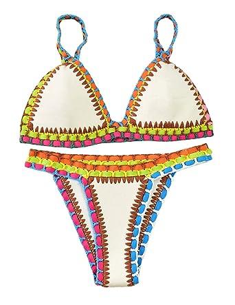 39be94bcba921 Sitengle Damen Bikini-Sets Handgestrickte Badeanzüge Crochet Neopren ...