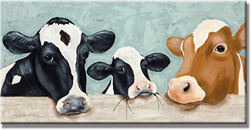 UAC WALL ARTS Hand Painted Modern Animal Artwork Oil Painting on Canvas Hang Picture Abstract Color Cow Wall Art for Living Room Decor Modern Painting Ready to Hang 18x36Inch