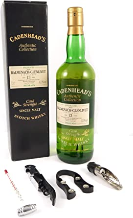 Blamenach - Glenlivet 13 year Old Single Malt Whisky 1981 Cadenheads Authentic Collection en una caja de regalo con cuatro accesorios de vino, 1 x 700ml: Amazon.es: Alimentación y bebidas
