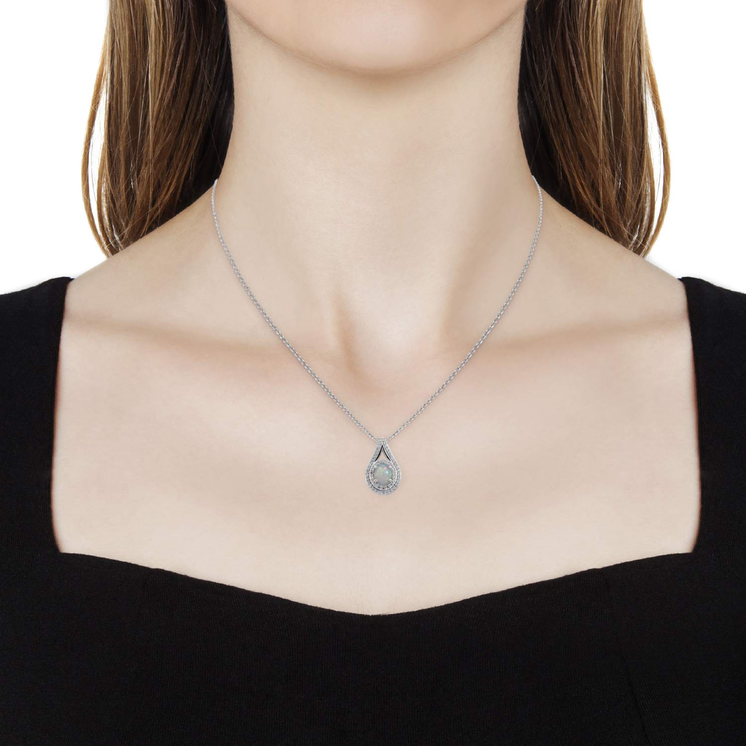 Welo Opal Zircon Pendant Necklace 20 in Platinum Over 925 Sterling Silver