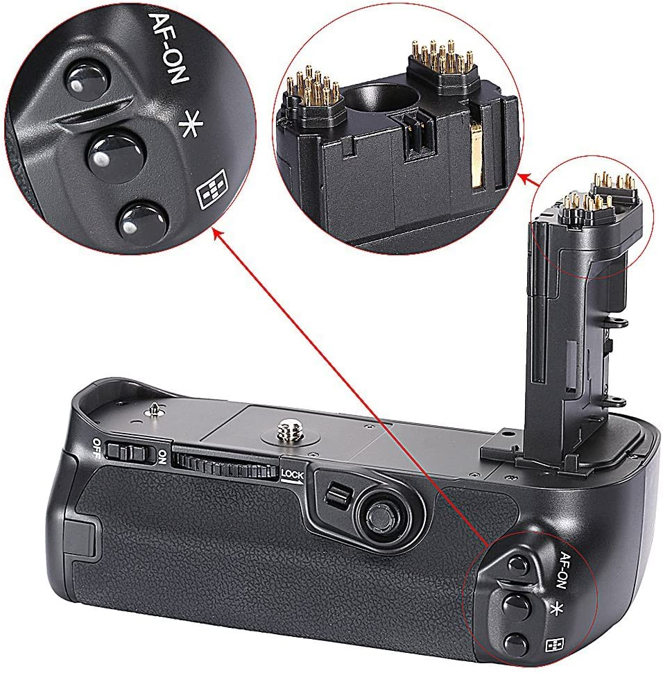 Neewer Built-in 2.4G LCD Display Wireless Control Battery Grip Replacement for BG-E16 works with LP-E6 Battery or 6pcs AA Batteries for Canon 7D Mark II Camera