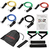 Resistance Bands Set with Exercise Tube Bands ,Door Anchor, Ankle Straps and Carry Bag - Home Gyms Workouts Fitness Yoga