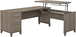 Bush Furniture Somerset 72W 3 Position Sit to Stand L Shaped Desk in Ash Gray